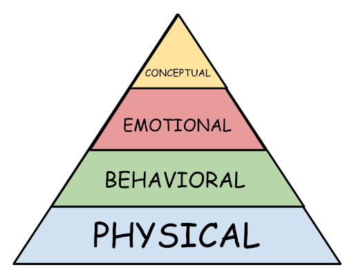 Pyramid graphic that illustrates the developmental domains that holistic approaches address: Physical (largest piece, on the bottom), behavioral, emotional, and conceptual (smallest piece, on the top).