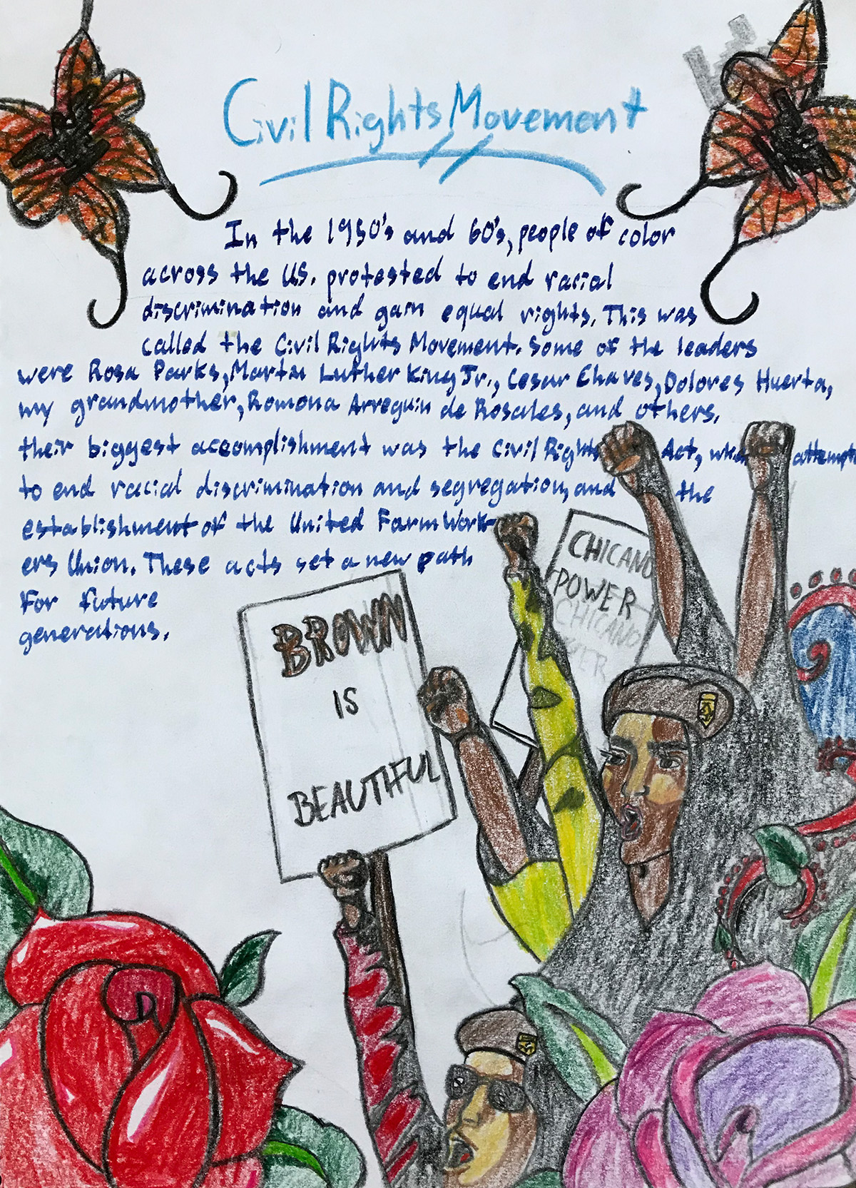 Beautiful Civil Rights lesson book page, handwritten and illustrated by an 8th grade student